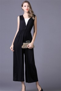 Simple V Neck Ankle Length Black Jersey Special Occasion Evening Party Jumpsuit