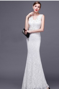 Slim Sheath V Neck White Lace Beaded Special Occasion Evening Dress With Sash