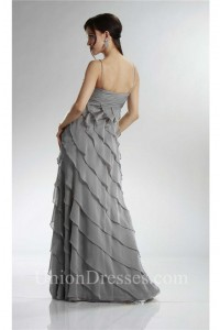 Spaghetti Strap Silver Chiffon Ruffle Tiered Mother Evening Dress With Jacket