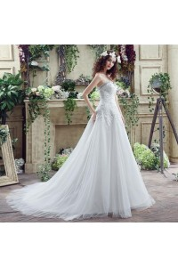 Sparkly A Line Strapless Lace Beaded Crystal Wedding Dress With Train