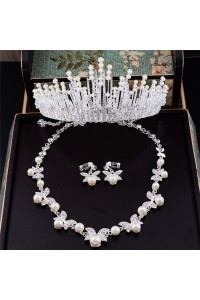 Sparkly Crystal Pearl Bridal Tiara Crown Necklace Jewely Set
