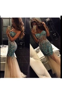 Sparkly Mermaid See Through Champagne Tulle Teal Beaded Prom Dress