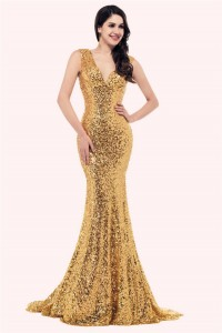 Sparkly Mermaid V Neck Sleeveless Corset Gold Sequin Prom Dress