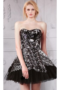 Sparkly Strapless Short Little Black Tulle Sequin Prom Dress