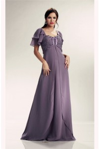 Stunning Empire Waist Gray Chiffon Beaded Mother Evening Dress With Sleeves
