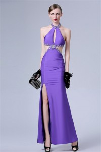 Stunning Front Cut Out Backless Long Purple Chiffon Beaded Evening Prom Dress With Slit