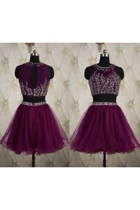 Stunning Keyhole Back Two Piece Short Purple Tulle Beaded Prom Dress
