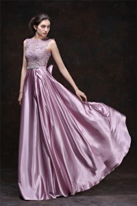 Stunning Long Lilac Lace Silk Draped Evening Prom Dress With Bow Sash