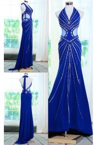 Stunning Mermaid Halter Backless Side CutOuts Royal Blue Chiffon Beaded Evening Prom Dress