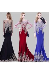 Stunning Mermaid Illusion Neckline Long Sleeve Burgundy Satin Gold Applique Evening Dress