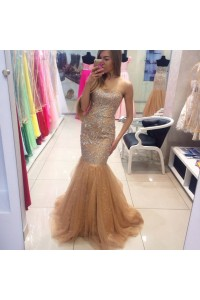 Stunning Mermaid Sweetheart Gold Lace Beaded Crystal Prom Dress