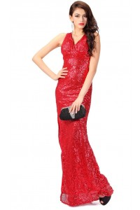Stunning V Neck Open Back Long Red Sequin Evening Prom Dress With Slit
