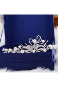 Stunning Zircon Pearl Wedding Bridal Tiara Crown Swan