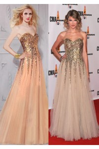 Taylor Swift Inspired A Line Sweetheart Long Champagne Tulle Sequin Prom Dress