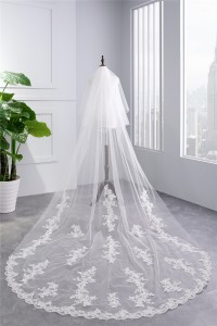 Traditional Two tier Tulle Lace Wedding Bridal Cathedral Veil