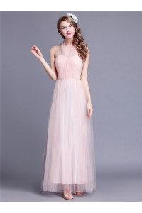 Unusual Sheath Long Blush Pink Tulle Bridesmaid Dress With Changable Straps