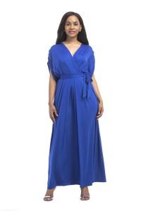 V Neck Maxi Length Royal Blue Jersey Dress With Sleeves Sash