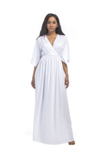 V Neck Maxi Length White Jersey Summer Dress With Sleeves Sash