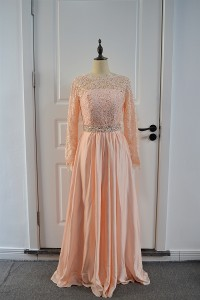 Beautiful Peach A Line Prom Evening Dress Scoop Long Lace Sleeves With Crystals
