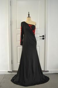 Elegant Black Mermaid Prom Evening Dress One Shoulder With Red Appliques