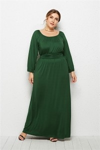 Elegant Long Sleeve Green Jersey A Line Spring Fall Plus Size Clothing Maxi Casual Dress
