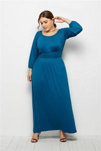 Elegant Long Sleeve Sky Blue Jersey A Line Spring Fall Plus Size Clothing Maxi Casual Dress
