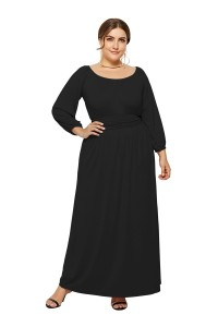 Elegant Long Sleeve Black Jersey A Line Spring Fall Plus Size Clothing Maxi Casual Dress