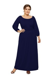 Elegant Long Sleeve Navy Blue Jersey A Line Spring Fall Plus Size Clothing Maxi Casual Dress