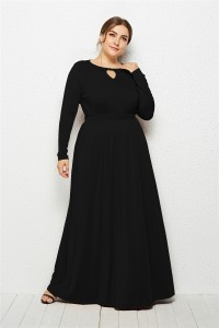 Elegant Scoop Long Sleeve Black Jersey Clothing Cut Out Spring Fall Plus Size Women Clothing Maxi Casual Dress