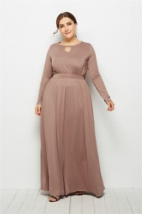 Elegant Scoop Long Sleeve Taupe Jersey Clothing Cut Out Spring Fall Plus Size Women Clothing Maxi Casual Dress
