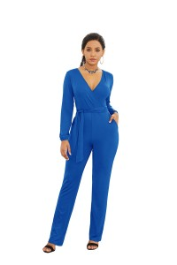 Elegant V Neck Long Sleeve Pool Blue Jersey Woman Clothing Casual Jumpsuit