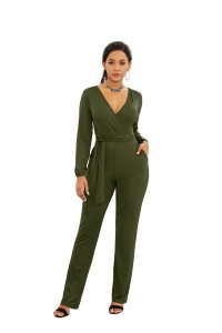 Elegant V Neck Long Sleeve Olive Green Jersey Woman Clothing Casual Jumpsuit