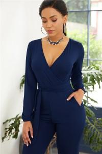 Elegant V Neck Long Sleeve Royal Blue Jersey Woman Clothing Casual Jumpsuit