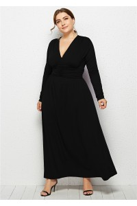 Elegant V Neck Long Sleeve Ruched Black Jersey Clothing Spring Fall Plus Size Women Clothing Maxi Casual Dress
