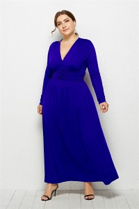 Elegant V Neck Long Sleeve Ruched Royal Blue Jersey Clothing Spring Fall Plus Size Women Clothing Maxi Casual Dress