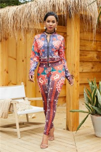 Fashion Long Sleeve Printed Club Two Piece Women Suit
