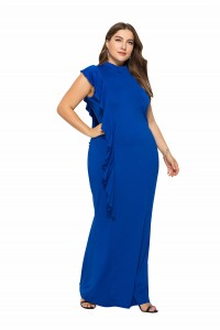 High Neck Royal Blue Jersey Spring Fall Plus Size Woman Clothing Maxi Casual Dress With Ruffles