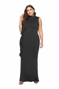 High Neck Black Jersey Spring Fall Plus Size Woman Clothing Maxi Casual Dress With Ruffles