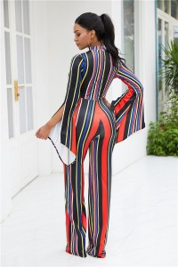 High Neck Long Sleeve Wide Leg Pants Cut Out Woman Clothing Striped Jumpsuit