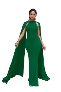 High Neck Green Jersey Maxi Woman Clothing Party Evening Special Occasion Dress With Cape
