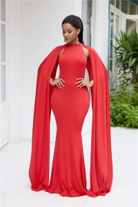 High Neck Red Jersey Maxi Woman Clothing Party Evening Special Occasion Dress With Cape