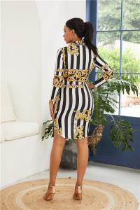 Long Sleeve Striped Summer Beach Shirtdress Short Mini Woman Casual Dress