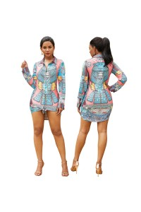 Long Sleeve Tie-Front Printed Summer Beach Shirtdress Short Mini Woman Casual Dress