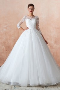 Princess Tulle Lace Wedding Dress With 3 4 Sleeves High Neck