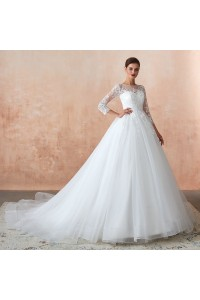 Princess Tulle Lace Wedding Dress With 3 4 Sleeves High Neck Court Train