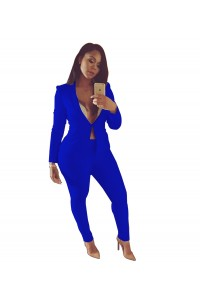 Sexy Royal Blue Long Sleeve Club Two Piece Women Suit