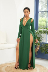 Sexy Deep V Neck High Slit Green Jersey Clothing Cut Out Maxi Woman Casual Dress