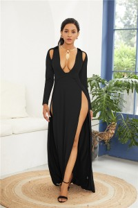 Sexy Deep V Neck High Slit Black Jersey Clothing Cut Out Maxi Woman Casual Dress