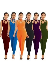 Sexy Halter Low Back Orange Jersey Cut Out Clothing Woman Party Special Occasion Jumpsuit