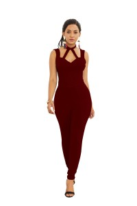 Sexy Halter Low Back Burgundy Jersey Cut Out Clothing Woman Party Special Occasion Jumpsuit
